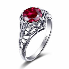 Jewelry Gift 100% Sterling Silver 925 Handmade Ruby Rings Women White Ring Red