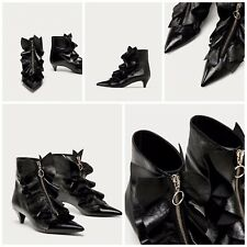 ZARA NEW AW17 RUFFLED HIGH HEEL LEATHER ANKLE BOOTS 6086/201
