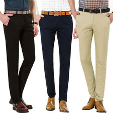 Mens Slim Chinos Trousers Stretch Skinny 100% Cotton Casual Business Pants 30-40