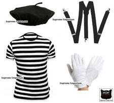 Supreme Mens French Mime Artist Fancy Dress Costume T-Shirt Beret Braces Gloves