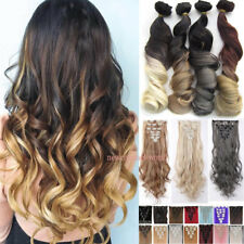 US Ombre 100% Natural Clip in Hair Extensions 8 Piece Full Head Straighrt Curly