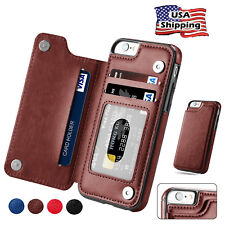 iPhone 8 /7 /6 Plus Magnetic Leather Wallet Case Card Slot Shockproof Flip Cover