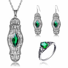 925 Sterling Silver Rings  Ring Earing Pendant Chain with Artificial Green Stone