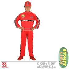 RED FORMULA 1 DRIVER RACING DRESSING UP Age 2-10 Boys Fancy Dress Costume