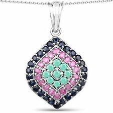 Genuine Round Emerald, Ruby and Blue Sapphire Pendant in Sterling Silver