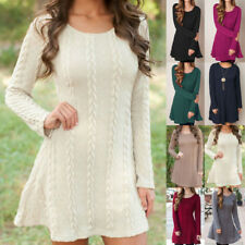 Womens Long Sleeve Loose Knitted Sweater Jumper Tops Tunic Sweater Mini Dresses