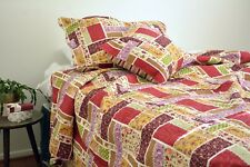 DaDa Bedding Multi Colorful Floral Red Patchwork Quilted Coverlet Bedspread Set