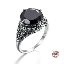 New 925 Sterling Silver Rings Agate Crystal Antique Ring Jewelry Women Men Black