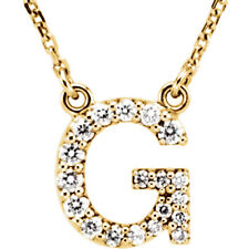 """14K Gold Diamond G Initial Letter Charm Pendant with 18"""" Rolo Chain Necklace"""