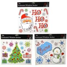 EMBOSSED PVC  CHRISTMAS WINDOW STICKERS XMAS PARTY DECORATION 3 SETS TO CHOOSE