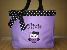 Personalized Baby Diaper Bag Tote Monogrammed Cute Owl Girl Bow