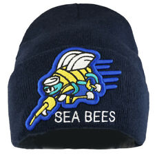 US Navy Sea Bees Logo Embroidered Long Cuff Beanie - Freeship