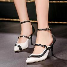 Womens Pointy Toe Cut Out Pumps High Heels Ankle Strap Dating Shoes All US Size