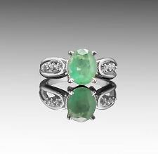 925 Sterling Silver Ring with Oval Cut Emerald Green Natural Gemstone Handmade