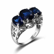 925 Sterling Silver Rings Jewelry Round Sapphire Love Ring For Women Blue Gift
