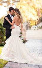 Tulle Lace Ivory Mermaid Wedding Dress with Spaghetti Straps Custom Size 2 4 6 8