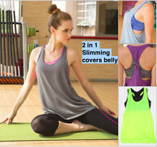 2 in 1, Ladys Workout Top Slimming Covers Belly Womens Yoga Fitness Shirt Sports