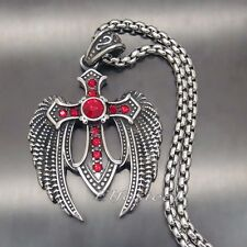 Men's Angel Wing Ruby Red CZs Cross 316L Stainless Steel Pendant