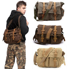 Mens Vintage Canvas Leather Messenger Bag Satchel Military Shoulder School Bag