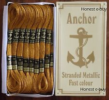 25 Anchor Metallic Thread Floss for Embroidery GOLDEN / SILVER / RED / GREEN