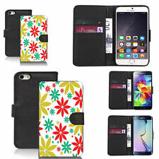 faux leather wallet case for many Mobile phones - multi poinsettia