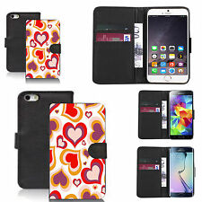 faux leather wallet case for many Mobile phones - red multi heart