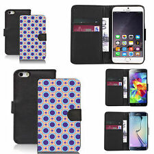 faux leather wallet case for many Mobile phones - multi circle