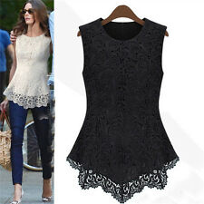ladies lacy vests Sweet Hollow-Out Lace Print Sleeveless Vest Blouse Embroidery