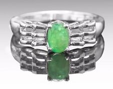 925 Sterling Silver Ring with Oval Cut Green Emerald Natural Gemstone Handmade