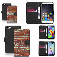 faux leather wallet case for many Mobile phones - brick wall