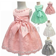 Infant Baby Girls Embroidered Floral Bow Dress Wedding Baptism Party Prom Gown