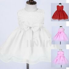 Flower Girl Bow Princess Dress Baby Kids Party Wedding Pageant Formal Dresses