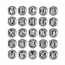 Hot 26 Letters European Silver CZ Spacer Charm Beads Fit sterling 925 Bracelet
