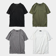 T-shirt Tops Summer Casual Stitching Mens Hip hop Arc Hem