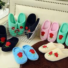Cute Women's Winter Red Rose Warm Soft Plush Antiskid Indoor Home Slippers Shoes