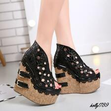 Ladies Cut Out Platforms Sandals Chic Peep Toe Wedge High Heels Casual Shoes New