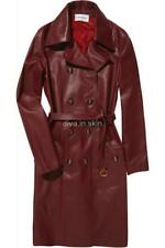 WOMENS LAMBSKIN LEATHER LONG WINTER MILITARY TRENCH COAT JACKET TAYLOR MADE SIZE