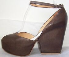 MAISON MARTIN MARGIELA Brown Platform Wedge Peep Toe Shoes 39 or 40