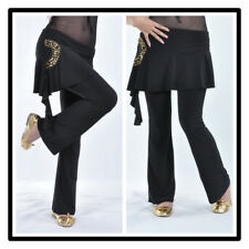 Tribal Belly Dance Costumes Pants Trousers Attached Skirt Gold Sequins