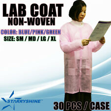 Disposable Dental Medical Lab Coat Jacket Gowns Non Woven Latex Free 30 PCS/CS