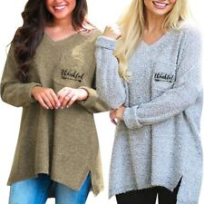 Womens Long Sleeve V Neck Loose Pullover Sweater Ladies Casual Jumper Furry Tops