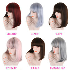 Fashion Long Straight Wigs with Full Bangs Mixed Color  Synthetic Wigs for Women
