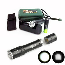 12000LM Zoomable XM-L T6 LED Tactical Powerful Flashlight+Battery+Charger+Case