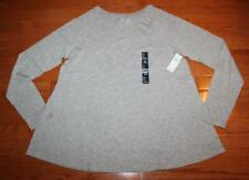 NEW NWT Womens GAP Cotton/Modal Grey Feather Tee Long Sleeve T-Shirt *1G