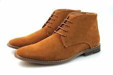 Mens Tan Camel Chukka Desert Boots Faux Suede Chelsea Winter Lace Up All Sizes