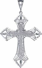 Large Sterling Silver Cross without Jesus Pendant Necklace 12 Grams 3.5 Inches