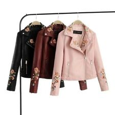 New Womens Floral Embroidered Faux Leather Motorcycle Biker Coat Jacket 3 Colors