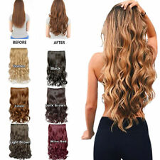 One Piece 5 Clips Clip on Synthetic Long Wavy Straight As Human Hair Extensions