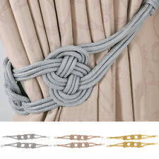 Curtain Tie Back Holdback Tieback Clip Buckle Braided Cord for Voile Drape 75cm