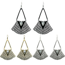 Ethno-style Large Earrings Retro Crystal Geometric Hollow Earrings 1Pair